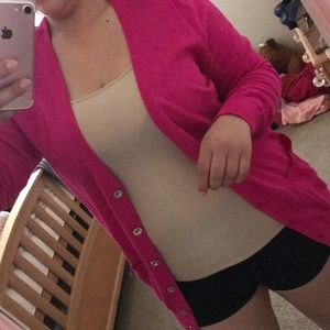 Hot pink Button Front Cardigan